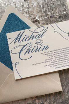 LAUREN Suite Glitter Package, blue wedding invitations, cream, sapphire, glitter wedding invitations, letterpress wedding invitations, popular wedding invitations for 2014