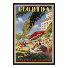 Get your hands on a customizable Vintage Florida postcard from Zazzle. Find a large selection of sizes and shapes for your postcard needs! Train Art, By Train, Floride Vintage, Vintage Movies, Vintage Art, Train Posters, Leather Photo Albums, Vintage Florida, Poster Prints