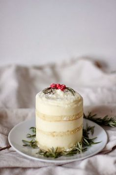 Rosemary Lemon Mousse Cakes with Olive Oil Cake