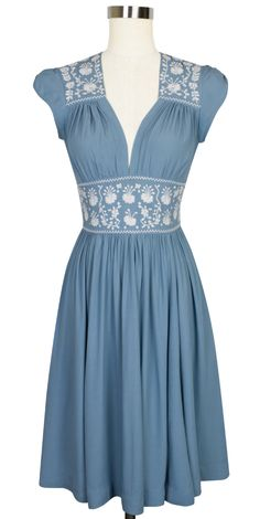 Trashy Diva Del Rio Dress - Old Hollywood glam meets aristocratic elegance in French Blue Embroidery! Vintage Inspired Dresses, Vintage Style Dresses, Trendy Dresses, Modest Dresses, Elegant Dresses, Day Dresses, Nice Dresses, Vintage Outfits, Fashion Dresses