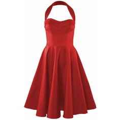 1950s Circle Dress Crimson ($160) found on Polyvore featuring women's fashion, dresses, vestidos, red halter top dress, circle dress, crimson dress, halter-neck dress and halter strap dress