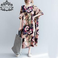 Women Cotton and Linen Dress Big Size Floral Pattern Print T-Shirt Summer Fashion Casual Female Tops Long Vintage Tshirt Dresses