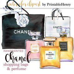 Chanel clipart watercolor Coco Chanel perfume digital clip art