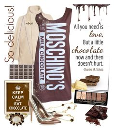 """Moschino Funny Look: Chocolate Bar Dress"" by absolut-me ❤ liked on Polyvore featuring FAY, Post-It, Love Quotes Scarves, Judith Leiber, Valentin Magro, Dune and Vintage"