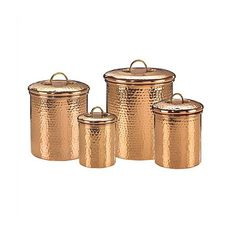 Old Dutch Hammered Copper 4-Piece Hammered Canister Set