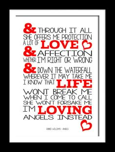 Robbie Williams Angels song typography lyric wall art canvas and prints