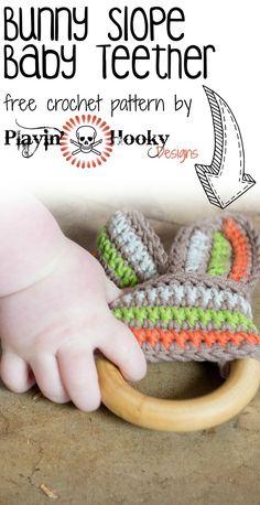 Crochet Amigurumi Rabbit Patterns Bunny Slope Ribbon Ring Teether for babies - free crochet pattern from Playin' Hooky Designs Love Crochet, Learn To Crochet, Beautiful Crochet, Crochet Flowers, Knit Crochet, Crochet Afghans, Crochet Baby Toys, Easter Crochet, Crochet Baby Booties