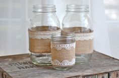 Set of 3 burlap and lace mason jars rustic by HeidieWithAnE, $16.00
