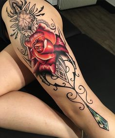 Amazing Rose and mandala leg tattoo - 50 Incredible Leg Tattoos