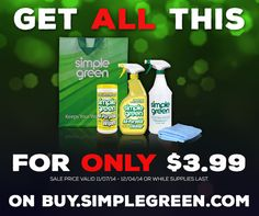 Don't wait 'til after #Thanksgiving for #BlackFriday Deals! Save now – This entire kit is only $3.99 at http://Buy.SimpleGreen.com! Use code 5off25lemon to save $5 off a purchase of $25. Offers available 11/7/14 – 12/4/14 or while supplies last. #SimpleGreen #Sale #Discount