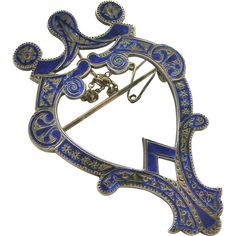 Large Victorian sterling silver and blue enamel Scottish Luckenbooth brooch