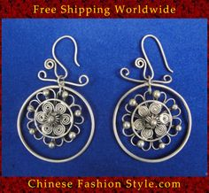 Tribal Silver Earrings Chinese Ethnic Hmong Miao Jewelry #325 Uniquely Handmad http://www.chinesefashionstyle.com/earrings/