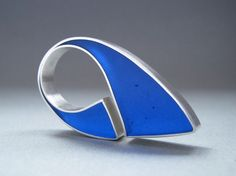 Huge Blue Sterling Silver  Resin  Ring  Embrace  by QuercusSilver