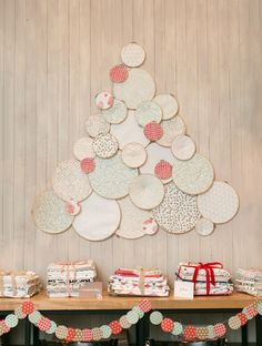 We made a Christmas tree out of Minted fabric and embroidery hoops for a nice visual focal point for the evening.