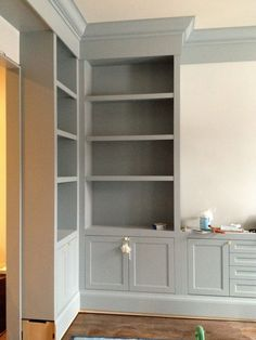 Gorgeous Gray Cabinet Colors {Color Palette Monday} Choosing gray cabinet paint colors can be tricky but we're making it easy by pulling together some of the best grays out there for cabinetry. Cabinet Paint Colors, Built In Bookcase, Bookcases, Built In Wall Shelves, Grey Cabinets, Alcove Cabinets, Mudroom Cabinets, Kitchen Cabinets, Bath Cabinets