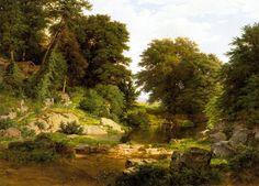 "William Trost Richards, ""Woodland Brook,"" oil, 1861."