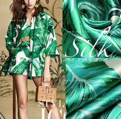 Palm Leaves Fabric Green Silk Fabric. Stretch Silk Satin. High-end, lustrous, smooth, beautiful drape, non-sheer, stretch silk. 800+ Printed silk fabric on SALE. Ship Worldwide.  ▼▲ DISCOUNT ▼▲ 15% OFF for €300 purchase. Coupon code: 300euros 10% OFF for €100 purchase. Coupon code: 100euros 5% OFF for €50 purchase. Coupon code: 50euros   ▼▲ SILK FABRIC INFO ▼▲  ♥ Width: 108cm or 42  ♥ Fabric is sold by 0.5 meter (0.55 yard). Choose the QTY of the Length you would like to buy as one…