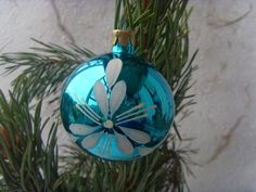 Soviet Vintage Blue Christmas Ball Made of Glass in USSR by Astra9, $4.40