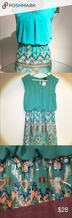 """✨NWT✨ Aztec sequin dress. Pretty Chiffon/Organza Aegean/Aqua/Turquoise top with a beautiful multi color sequin Aztec patter. Perfect as cocktail dress, party 👗 One piece dress, skirt measures 17""""h  (to waist) 17.5""""w (hips).  Size M Odor, 🐶 free 🏡 Dresses Mini"""