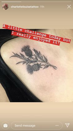 ♥️ my thistle tattoo Pretty Tattoos, Cute Tattoos, Beautiful Tattoos, Flower Tattoos, Black Tattoos, Small Tattoos, Poke Tattoo, Get A Tattoo, Arm Tattoo