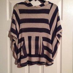 Pullover hoodie Wide flowy short  sleeve Hoodie, navy blue and cream stripes Charlotte Russe Tops Sweatshirts & Hoodies