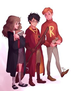 Hermione Granger, Harry Potter and Ron Weasley Harry Potter Hermione Granger, Harry Potter Tumblr, Harry Potter Anime, Harry Potter Fan Art, Harry Potter Universe, Harry Potter Drawings, Harry Potter Fandom, Harry Potter Characters, Harry Potter World