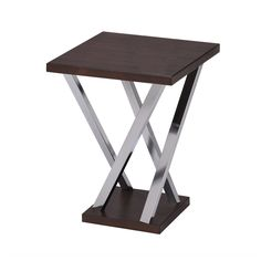This Functional Side Table Has A Beautiful Walnut Wood Finish And Chrome Finished Legs
