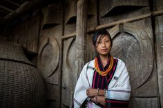 girl of the angami tribe, wearing traditional clothing in its traditional home, near kohima, nagaland by anthony pappone photographer, via F...