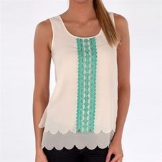 Blu Pepper Juniors Embroidered Tank with Scalloped Trim #VonMaur #BluPepper #Tiered #FlyAwayBack