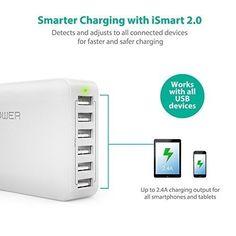 6 Port USB Charger Desktop Fast Charging Station With iSmart 60W White #USBChargeriSmart
