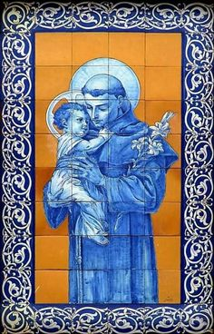 Sto António Catholic Art, Catholic Saints, Religious Art, St Anthony's Feast, Oracion A San Antonio, Friend Of God, Saint Anthony Of Padua, Christian Symbols, Portuguese Tiles