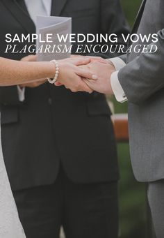 Couple holding hands while saying wedding vows