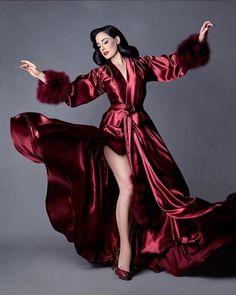 2e0147d976a Image of Dita Von Teese Collection Marabou Bordeaux Dressing Gown Agent  Provocateur