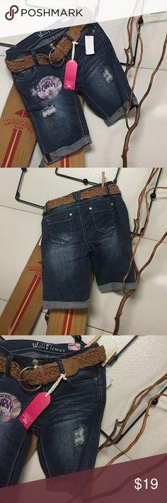 Jean shirts Wallflower, belted Wallflower deconstructed belted shorts Wallflower Shorts Jean Shorts