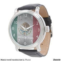 Shop Mexico travel vacation text watch created by Thunes. Personalize it with photos & text or purchase as is! Vintage Leather, Vintage Men, White Clocks, Honeymoon Gifts, Mexico Travel, Vacation Trips, Gifts For Him, Family Travel