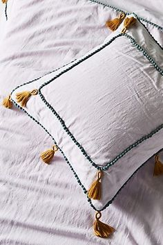 Tasseled Border Euro Sham, presented by Anthropologie. Available in lilac and black and white. Shabby Chic Kitchen, Shabby Chic Homes, Shabby Chic Decor, Cheap Home Decor, Diy Home Decor, Bohemian Bedding, Chic Bedding, Euro Shams, Deco Table