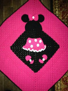Inspired lil minnie baby blanket granny square custom by nerimae65