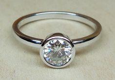 Custom Made .50ct Round Brilliant Cut Diamond 14k White Gold Bezel Set Engagement Ring Art Deco Style OOAK by DiamondAddiction on Etsy