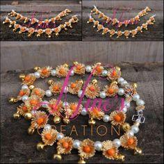 Silk Thread Necklace, Thread Bangles, Thread Jewellery, Lace Jewelry, Jewelry Crafts, Flower Jewelry, Diy Jewellery, Diy Wedding Earrings, Wedding Jewelry
