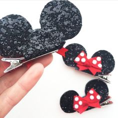 Miniature Minnie Mouse ears hair clip or headband with red bow- disney hair accessory- Mickey Mouse ears - HAIR ACCESSORIES DIY Disney Mickey Ears, Minnie Mouse Bow, Mickey Mouse Headband, Barrettes, Hairbows, Hair Scrunchies, Disney Hair Bows, Bow Template, Do It Yourself Inspiration