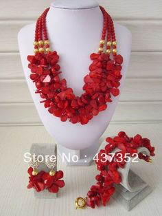 Marvelous African Nigerian Wedding Red Coral Beads Jewelry Set Bridal Necklace Bracelet Clip Earrings CWS-136