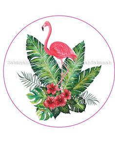 Cabochon rond en verre Flamant Rose tropical
