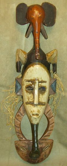GURO Mask Ivory Coast ELEPHANT HEADDRESS African Art Collectibles