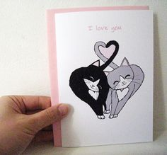 Valentine's Day Card - Headbutting Kitties Black and Grey - I Love You. on Etsy, $5.00