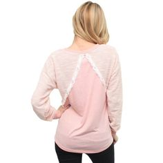 Pink Lace Inset Sweater Awesome sweater for fall! Cute lace design. Sweaters