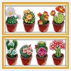 [Visit to Buy] New Arrive DIY Needlework Patchwork Beautiful cactus DMC Cross Stitch Kits for Embroidery Knitting Needles hobbies and crafts #Advertisement