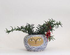 Blue-Polka-Dot-Pot - face pot - Ceramic