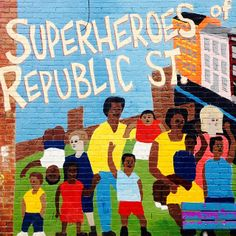Superheroes of Republic St. playground mural, Cincinnati