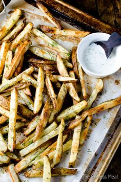 Garlic Dill French Fries with Lemon Dill Yogurt Sauce