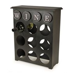 Pack of 2 Black & White Wood Console 9 Bottle Wine Holder Wine Rack 20.75""